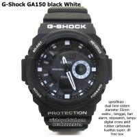 jam tangan digital analog dual time g-shock ga 150 super black white