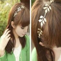 Jual Bando Korea Karet Headband Ornamen Daun Emas Murah