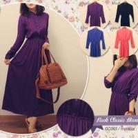 Plain Neck Classic Maxi Dress Katun Rayon By Goldien