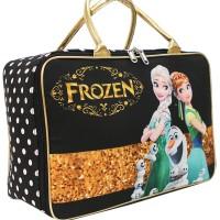 Travel Bag Karakter Disney Frozen Fever Bahan Kanvas - Hitam Gold