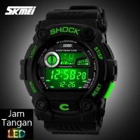 Jual Jam Tangan Digital Pria Oakley SKMEI Wave Hitam Hijau Original