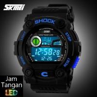 Jual Jam Tangan Digital Pria Oakley SKMEI Wave Hitam Biru Original