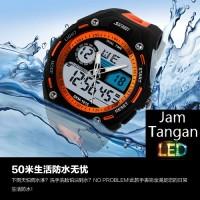 Jual Jam Tangan Digital Pria Oakley SKMEI Turbo 1015 Oranye Original