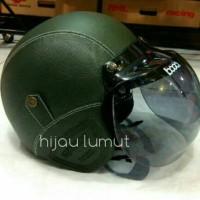 helm retro bogo kulit clasic hijau army