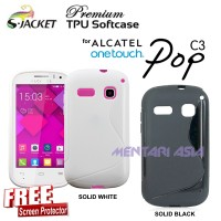 Softcase ALCATEL OneTouch Pop C3 : S-JACKET Premium TPU (+ FREE SP)