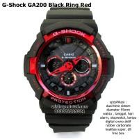 jam tangan digital sport dual time g-shock ga 200 super ring merah