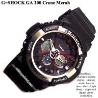 jam tangan digital sport dual time g-shock ga 200 super crono merah