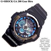 jam tangan digital sport dual time g-shock ga 200 super gear biru
