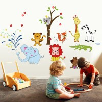 Jual WALLSTICKER 60X90/WALLSTIKER TRANSPARAN-AY9221-ANIMAL PARADISE Murah
