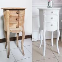 Round Drawers Shabby Chic White / Laci / Meja Bundar Vintage Putih