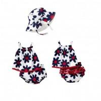 Setelan Baju Celana Topi Bunga Biru Bayi Perempuan MX3513D3