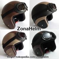 Jual helm retro coklat krem hitam Murah