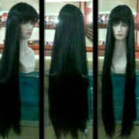 Wig Panjang 120cm Hitam Lurus Long Hair Rambut Palsu Extension Black