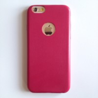 IPHONE 6 6+ 6Plus SEMI LEATHER ELASTIC SOFT CASE CASING COVER PINK