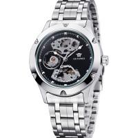 jam tangan Ouyawei Skeleton Stainless Steel Automatic Mechanical Watch