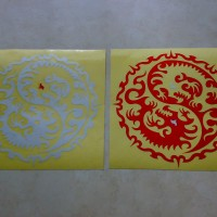 (stiker) sticker mobil tribal dragon yin yang cutting