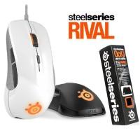 Bundle Paket Steelseries Rival Black/White + FREE QCK MASS