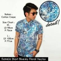 Kemeja Short Bluesky Floral Vector