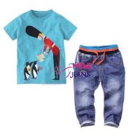 baju setelan fashion anak Mini Jeans MJ england pi