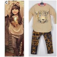 baju setelan fashion anak perempuan HM brown tiger
