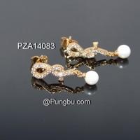 Anting tusuk emas lingkar dan mutiara PZA14083