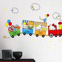 Jual ABC1022-HELLO KITTY TRAIN WALL STICKER STIKER Murah
