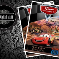 Kartu undangan ultah / birthday card invitation custom tema Cars