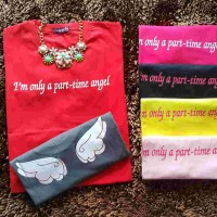 Kaos Cewek Unik Lucu Murah Cupids I'm Only a Part time Angel