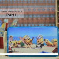 Casing HP Custom Rubber Transparan Blue Tab 4 7 Inch Party Minions