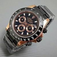 Jam Tangan Pria / Cowo Rolex Daytona Rantai Black Gold