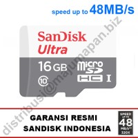 Sandisk Ultra Micro SD / SDHC 16 GB UHS-I class 10 48MBps No Adapter