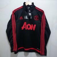 Sweater Training Manchester United Black Half Zipper 15/16
