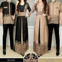 Couple YUDISTIRA Baju Koko + Gamis Maxi 2 Warna (Black/Mocca)