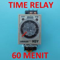 TDR 60 Menit Time Delay Relay Timer Penunda Waktu AC 220V H3Y-2 Omron