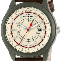 Timex Men's T49921 Expedition Camper Green Case Natural Dial Brown