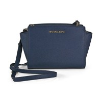 Michael Kors Women's Selma Medium Top Zip Satchel-Navy (PROMO