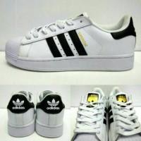 Adidas Superstar II White Black Gold Premium Quality Ladies