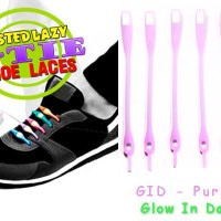 Jual V-Tie Shoelaces - Tali Sepatu Silikon / Silicon - Glow in Dark Purple Murah