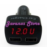 harga Charger Mobil USB Dengan Voltmeter Ammeter Thermometer Digital Display Tokopedia.com