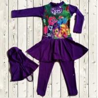 Jual Swimsuit Baju Renang Anak Perempuan Muslimah Muslim - Poeny Purple Murah