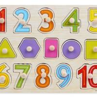 Jual Puzzle Kayu Pin Knob Angka dan Shape Geometri Mainan Edukasi Anak Murah