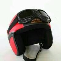 harga Helm Retro Kulit Clasic Kacamata Merah Hitam Tokopedia.com