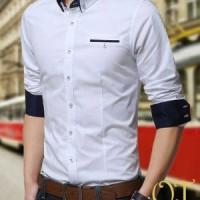harga kemeja pria lengan panjang slim fit katun warna putih Tokopedia.com