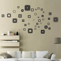 Jual BLACK SQUARE JM8336 - STIKER DINDING / WALL STICKER (50X70) Murah