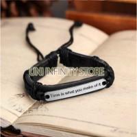 JWLB0056 Gelang Kulit Pria (time is what you make of Leather Bracelet)