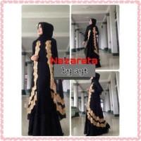 NAZARETA BLACK 3in1 BAJU HIJABERS HITAM Dress Hijabers long cardi