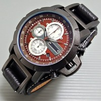 Jam Tangan Pria Fossil JR1157 Leather Black plat Brown Chrono Aktif