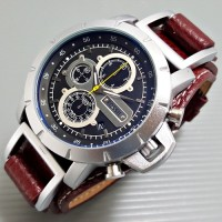 Jam Tangan Pria Fossil JR1157 Leather Brown ring Silver Chrono Aktif