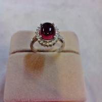 harga Cincin Cabochon Garnet+cincin Perak Lapis Emas Putih 18k (desain 2) Tokopedia.com
