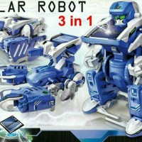 Mainan Anak Robot solar tenaga surya Transformer 3 in 1 mobil tank
